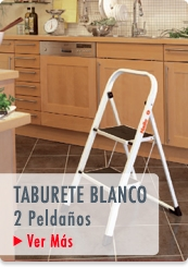 TABURETE 2 PELDAÑOS 47CM BLANCO - HAILO CHILE