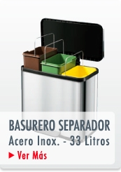 BASURERO RECICLAJE TRIPLE RECIPIENTE PEDAL ACERO INOX. 33 LTS. METAL - HAILO CHILE