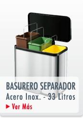 BASURERO RECICLAJE TRIPLE RECIPIENTE PEDAL ACERO INOX. 33 LTS. METAL - HAILO CHILE