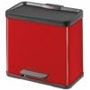 BASURERO RECICLAJE TRIPLE RECIPIENTE PEDAL ACERO INOX. 33 LTS. ROJO