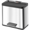 BASURERO RECICLAJE TRIPLE RECIPIENTE PEDAL ACERO INOX. 33 LTS. METAL